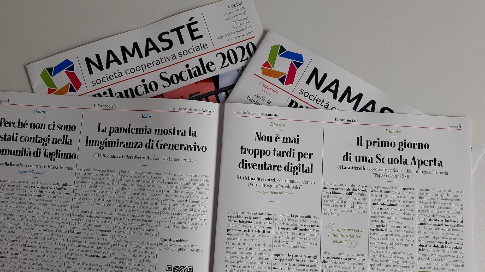 Generavivo nel Bilancio Sociale 2020 di Namasté